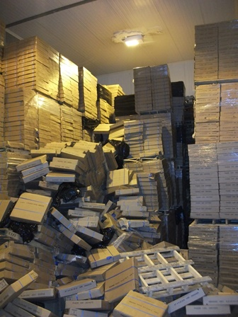 A stack of boxes that has fallen over.