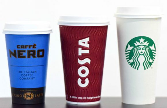 Caffe Nero, Costa and Starbucks recyclable coffee cups