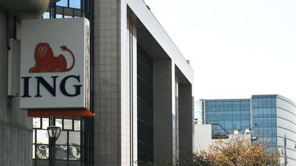 A sign with the ING logo on.