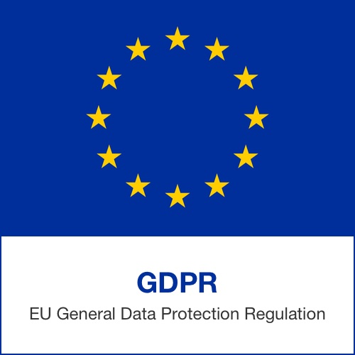 "European Union symbol alongside text which reads ""GDPR EU General Data Protection Regulation."""