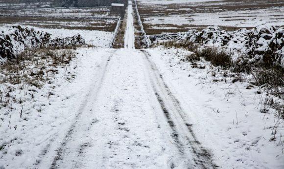 A snowy road.