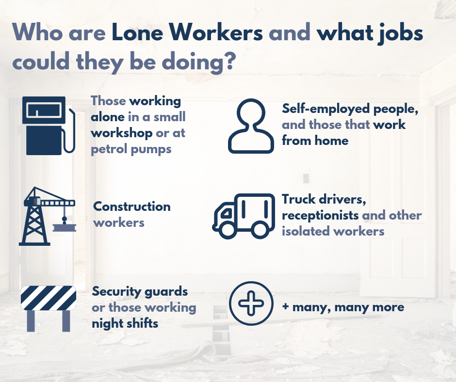 Lone Workers infograph in a blue font against a white background.