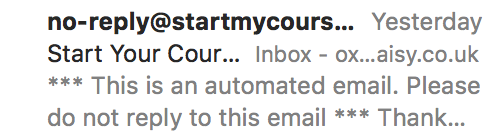 An email from startmycourse.