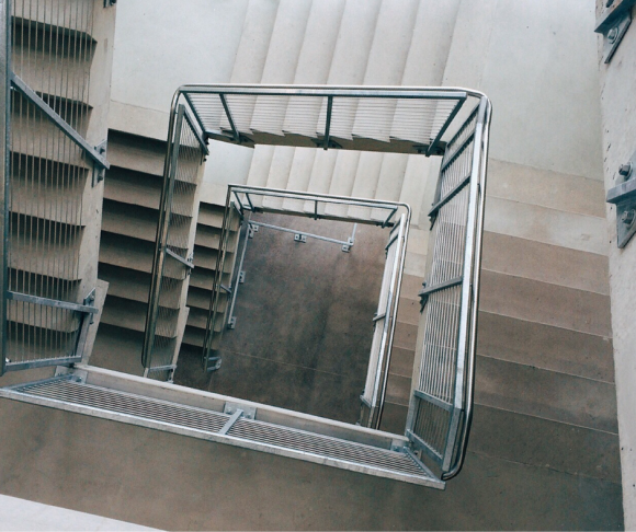 An aerial view of a spiral-shaped stairway.