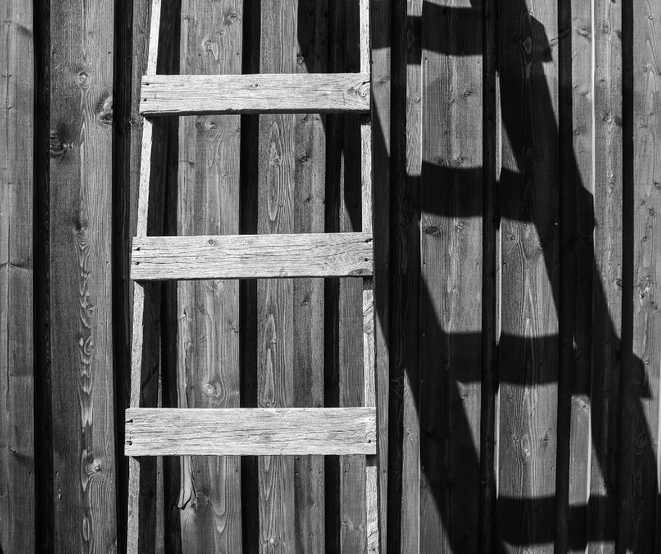 A ladder resting against a wooden surface, with its shadow reflected upon it in, in black and white.