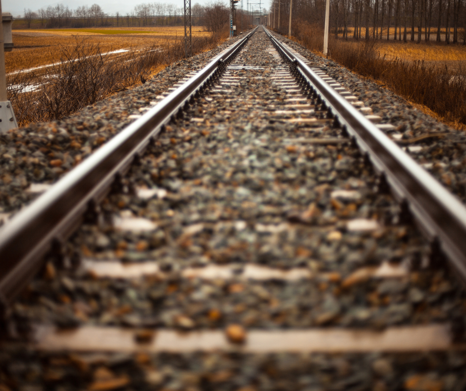 A railroad track.