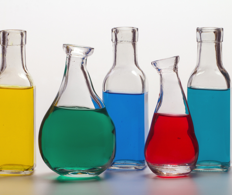 Glass tubes containing different coloured chemicals.