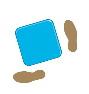 An illustration of two footprints either side of a blue box.