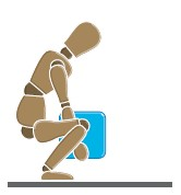An illustration of a person squatting down close to the floor to lift a blue box.