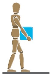 An illustration of a person carrying a blue box.