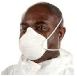 A man wearing a disposable half mask breathing apparatus with a particle filter.