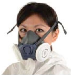 A lady wearing a reusable half mask breathing apparatus with a particle filter.