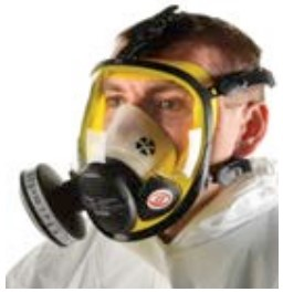 A person wearing a full face mask breathing apparatus with a particle filter.