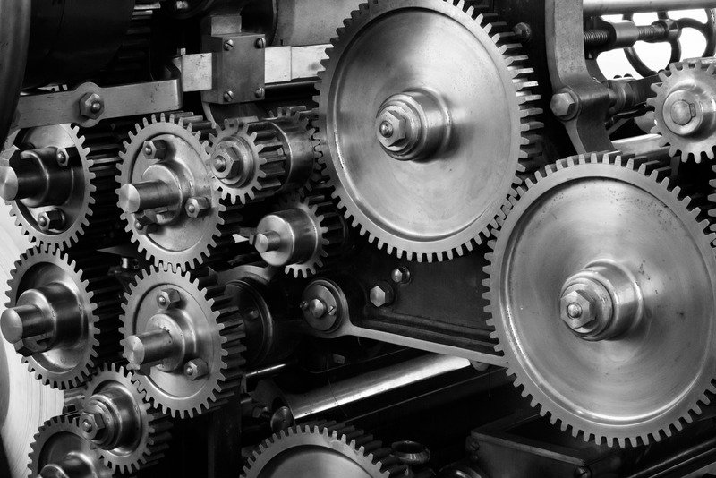 Cogs in black and white.