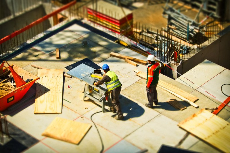 Workers on a construction site.
