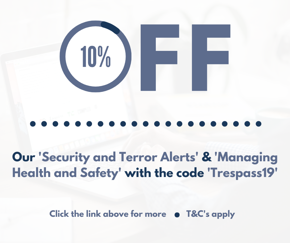 10% Off 'Security and Terror Alerts' and 'Managing Health and Safety' for November's HOM Trespassing.