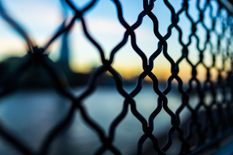 Black links of a fence.
