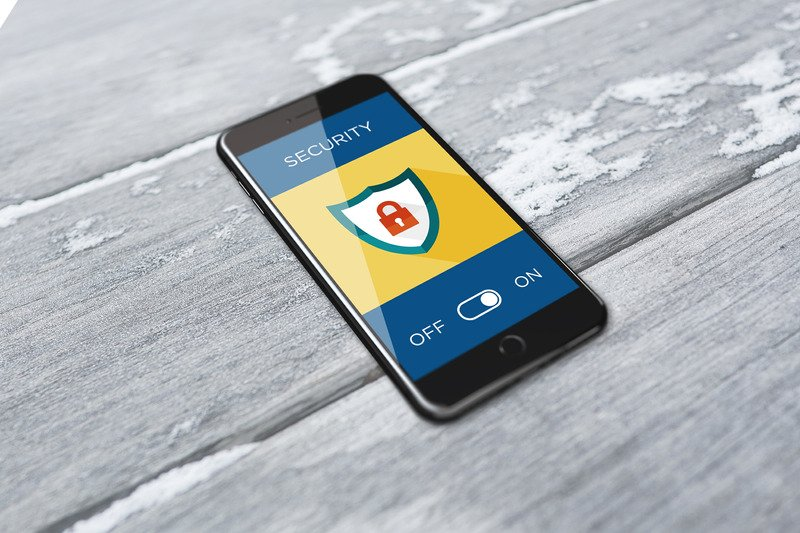 A smart phone showing an activated security system.