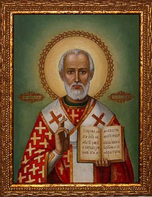 A painting of St Nicholas.