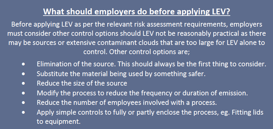 Text explaining what employers should do before applying LEV.