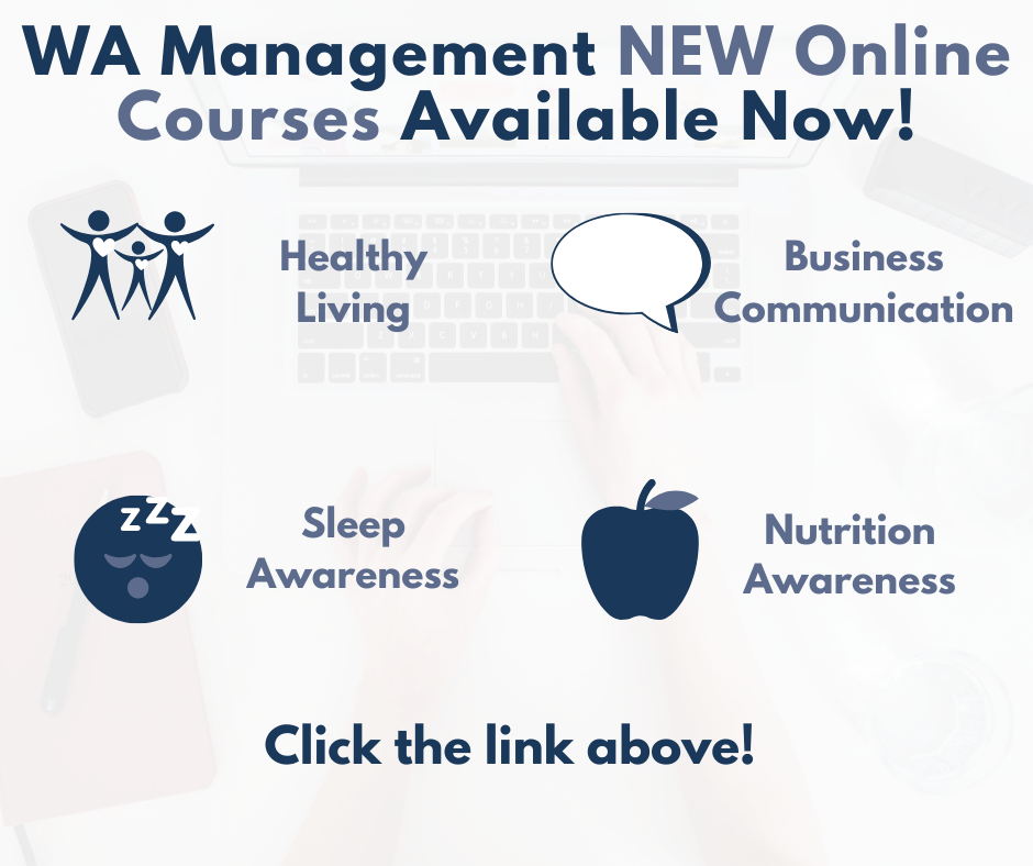 New Online Training Courses: healthy Living, Business Communication, Sleep Awareness and Nutrition Awareness in a blue font against a white background, with illustrations. There is also illustrations of 3 people with their hearts highlighted, a speech bubbles, a sleepy face and an apple.