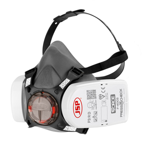 A black and white Press to Check Respiratory mask