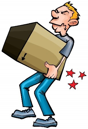 Illustration of a man injuring himself from carrying a cardboard box.