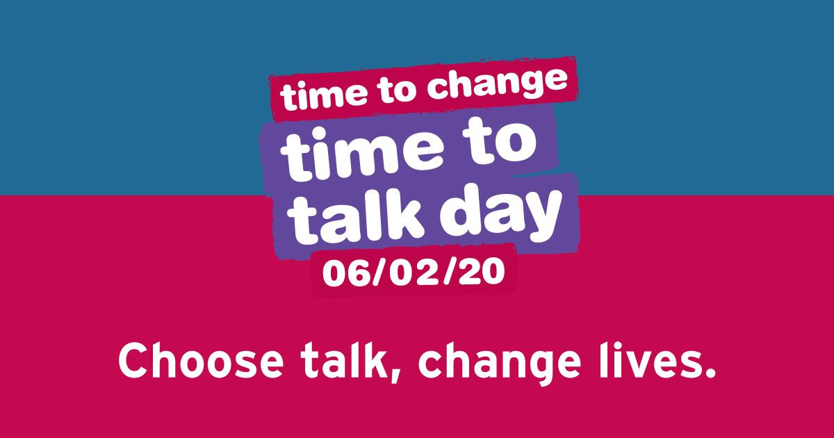White text which reads 'time to change; time to talk day 06/02/20, Choose talk, change lives.' with pink, purple and blue colours in the background.