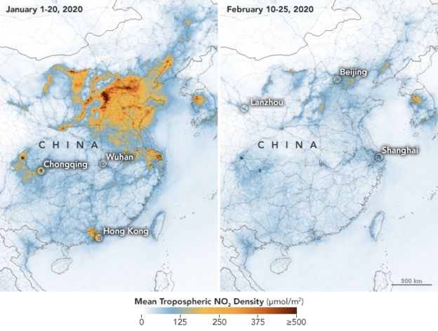 A comparison of nitrogen dioxide levels over China in January 1-20 2020 compared to February 10-25 2020. The levels are considerably lower in February.