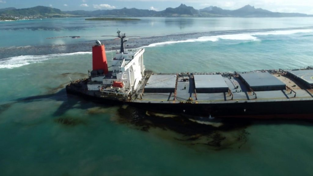 The grounded MV Wakashio ship which is leaking oil near the island of Mauritius.