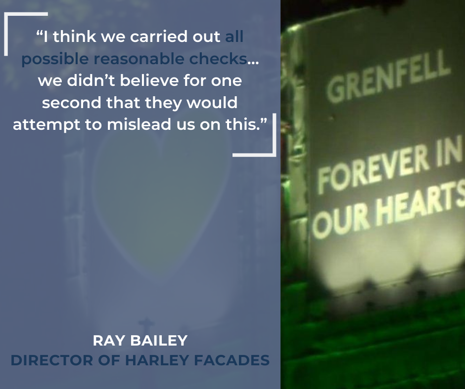 "A quote by Ray Bailer, Director of Harley Facades which reads """"I think we carried out all possible reasonable checks… we didn't believe for one second that they would attempt to mislead us on this"" in white and blue text against a picture of a 'Grenfell Forever In Our Hearts' projection."