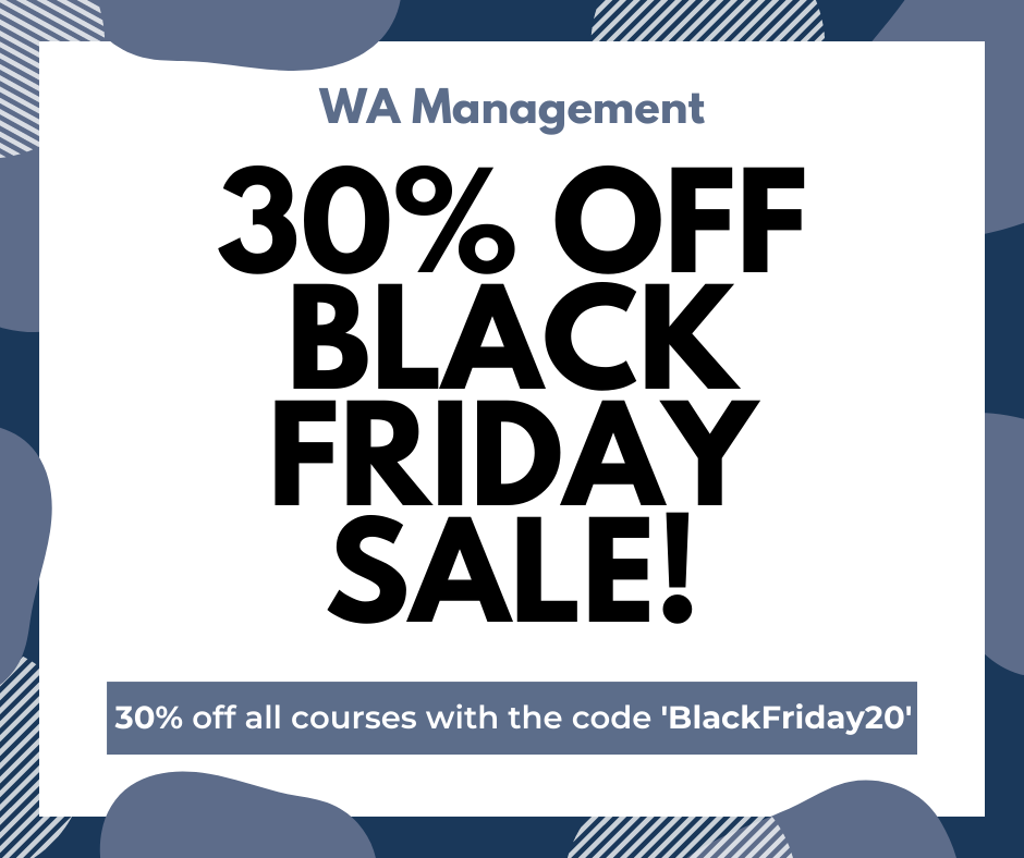 WA Management 30% Off Black Friday Sale with the code 'BlackFriday20'