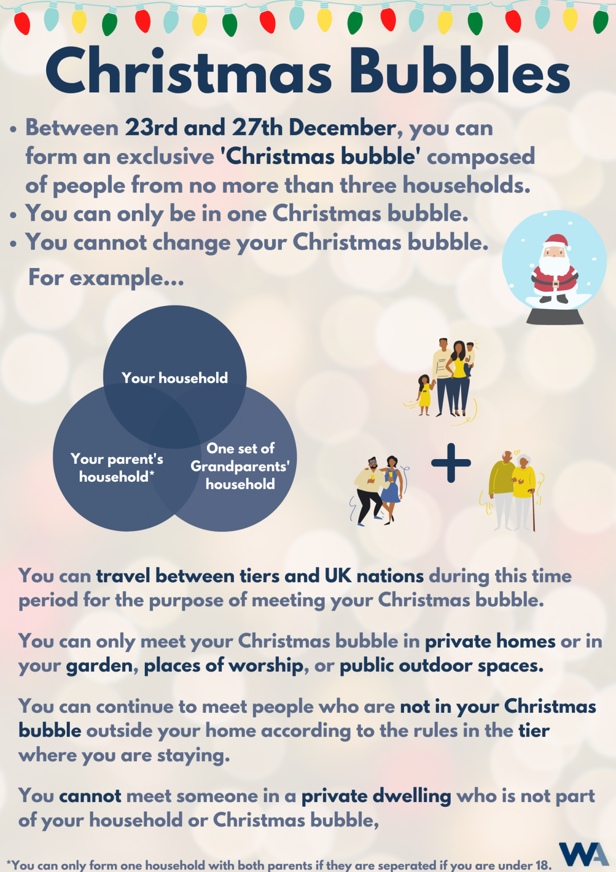 A poster describing the Christmas Bubble rules in the UK during the coronavirus pandemic.