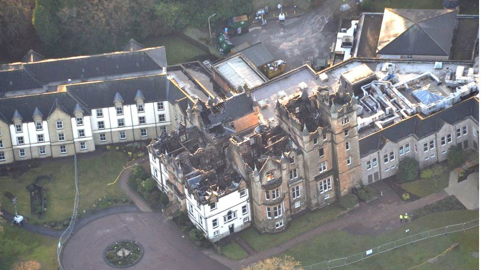 Aerial photograph showing the extent of the damage to Cameron House after a fire that claimed the lives of two guests.