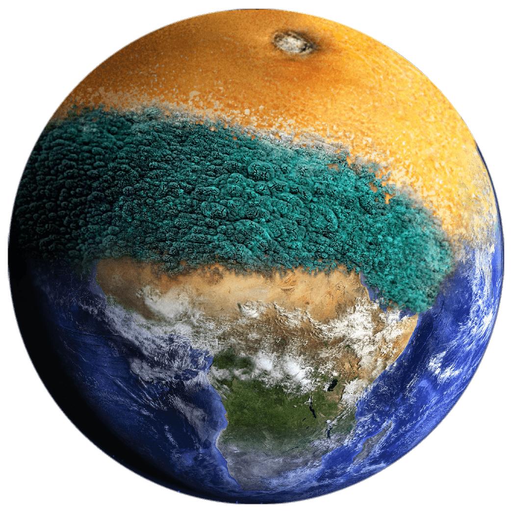 An earth made up of food waste such as orange skins and mould.