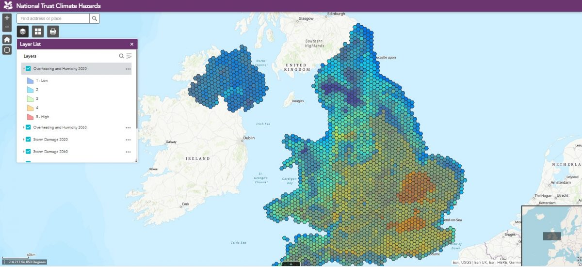National Trust Climate Hazards map