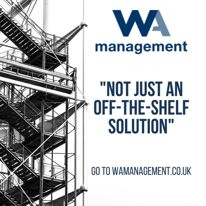 """WA Management logo and the text '""""NOT JUST AN OFF-THE-SHELF SOLUTION"""" GO TO WAMANAGEMENT.CO.UK' against a white background and a black and white picture of scaffolding."""