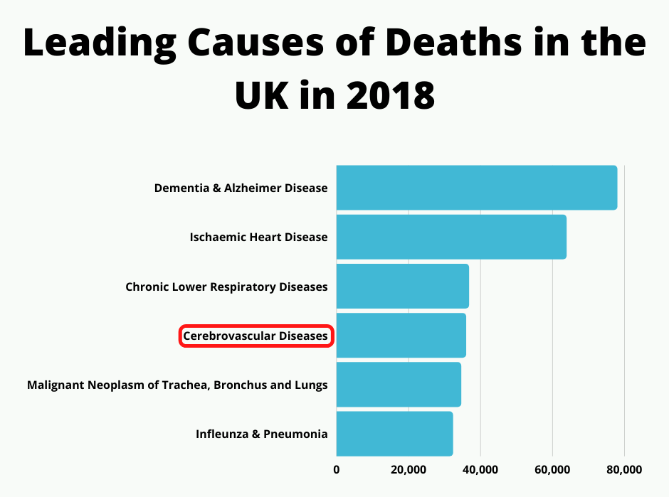 A graph showing the leading causes of deaths in the UK in 2018.