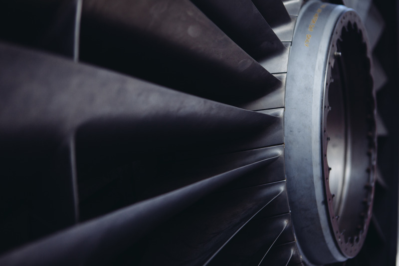 An up-close image of blades of a turbine.