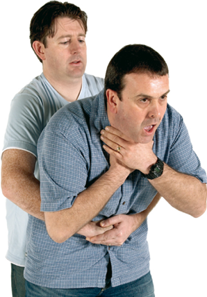 A man performing abdominal thrusts on another man who is choking.