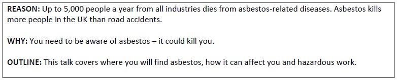 Asbestos Toolbox Talk text box