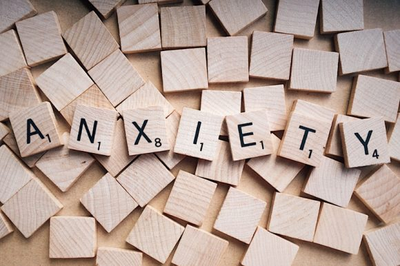 Anxiety Written on Wooden Scrabble Letters