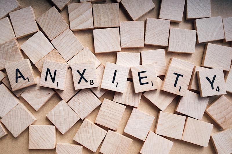 Anxiety Written on Wooden Scrabble Letters