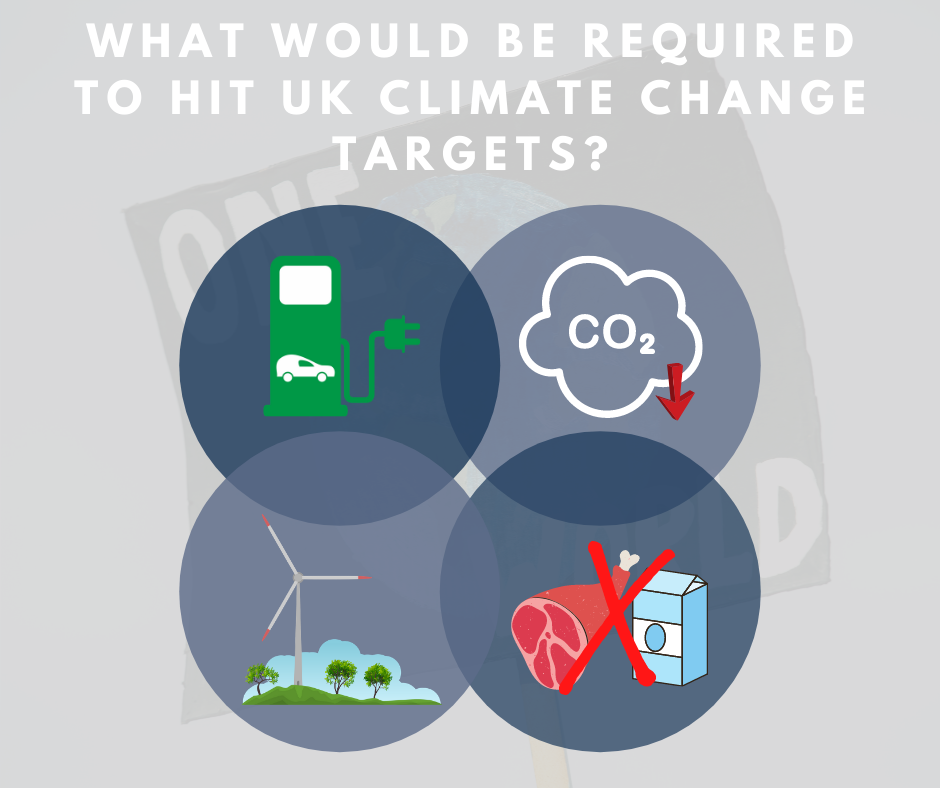 What Would Be Required to Hit UK Climate Change Targets graphic, including illustrations representing electric cars, low carbon heating, renewable electricity and less meat and dairy.