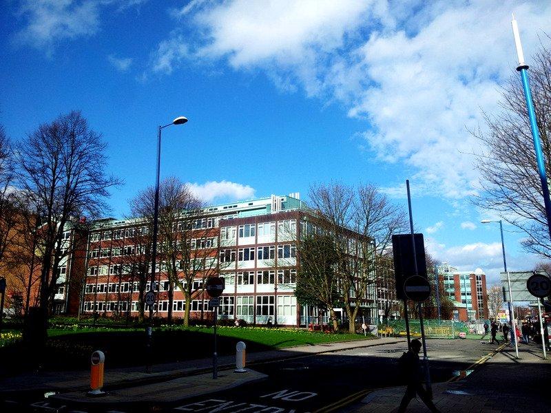 A school building.