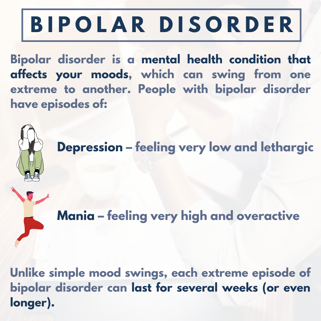 Inforgraphic on Bipolar Disorder. Bipolar Disorder is a mental health condition that affects your moods, which can swing from one extreme to another.