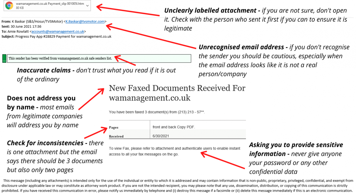 An example of a phishing email WA Management's Office & Accounts Manager received with signs it is a phishing attempt highlighted and explained