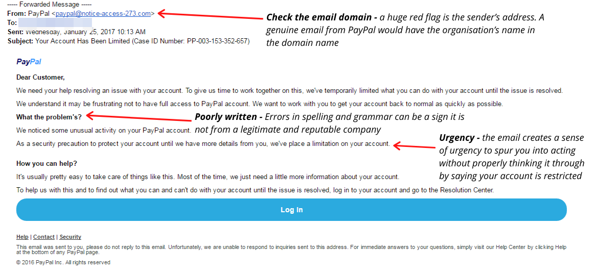 An example of phishing email mimicking PayPal with the signs that it is fraudulent noted.