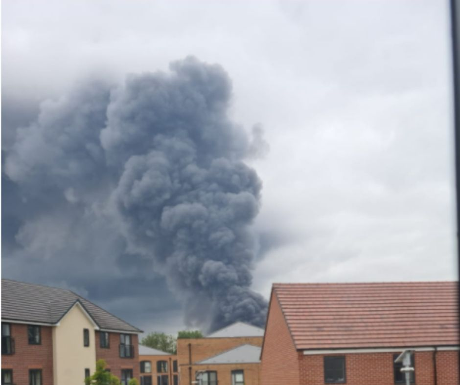 View of cloud of smoke from the fire in Leamington Spa
