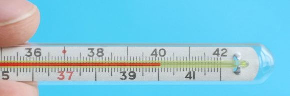 Thermometer showing 40 degrees Celsius